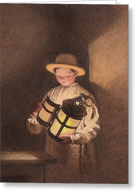 Young Boy Holding A Lantern Greeting Card by Frederick Thomas