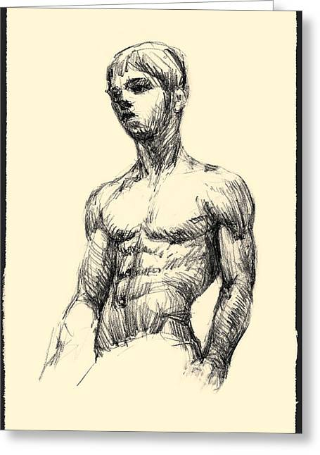 Young Boy - Pencil Sketch Greeting Card by Ivan Dinkov