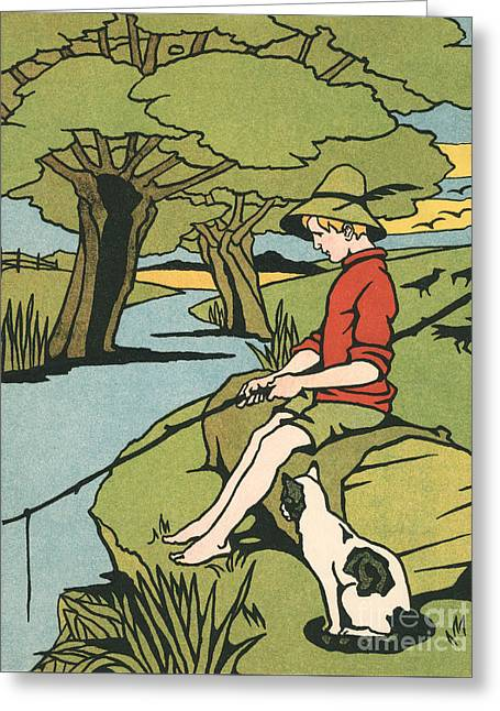 Young Boy Sitting On A Log Fishing In A Small River In The Country With His Cat Greeting Card