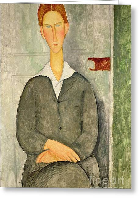 Clemente Paintings Greeting Cards - Young boy with red hair Greeting Card by Amedeo Modigliani
