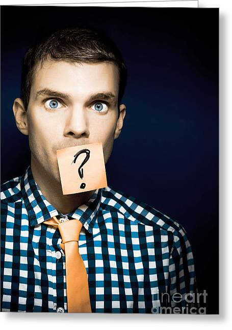 Young Business Man With A Question Greeting Card by Jorgo Photography - Wall Art Gallery