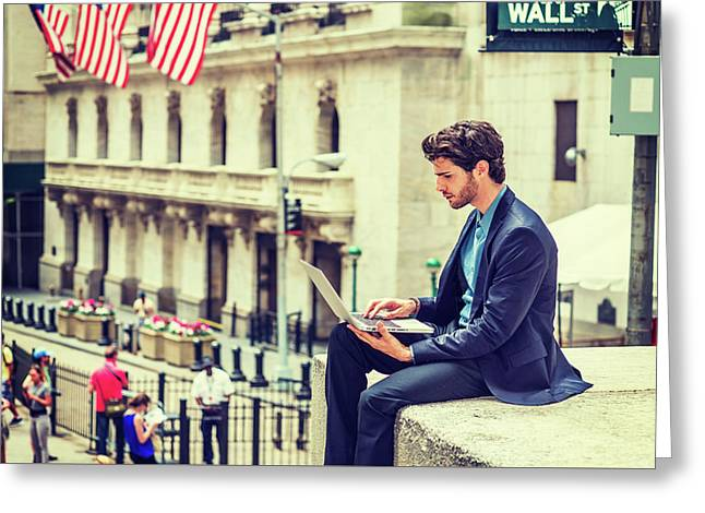 Young Businessman Working On Wall Street In New York Greeting Card
