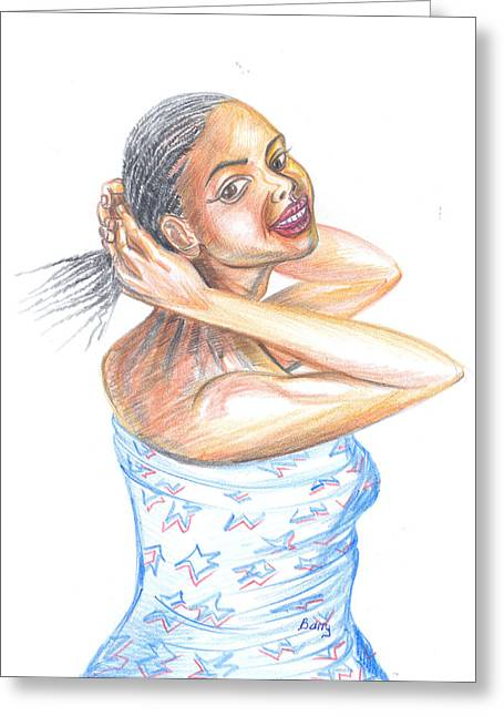 Greeting Card featuring the painting Young Cameroun Woman Tying Her Hair by Emmanuel Baliyanga