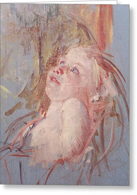 Young Child In Its Mother's Arms Greeting Card by Mary Stevenson Cassatt