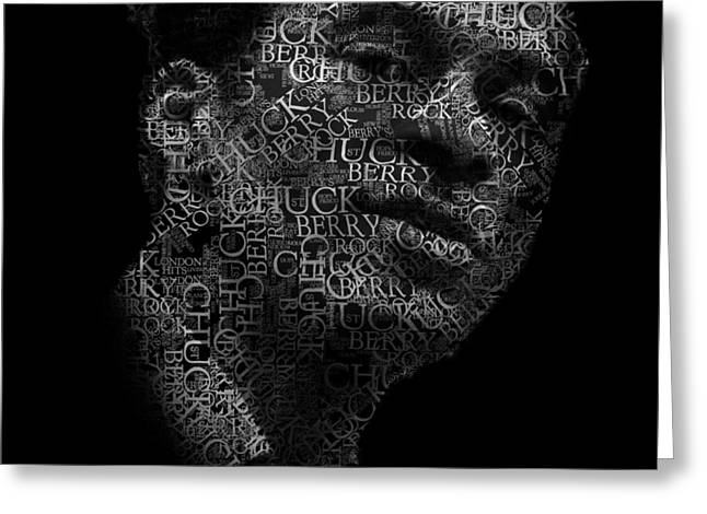 Young Chuck Berry Text Portrait - Typographic Face Poster With The Name Of Chuck Berry Albums Greeting Card