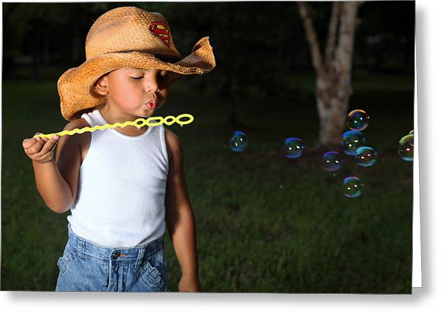 Young Cowboy Blowing Bubbles Greeting Card