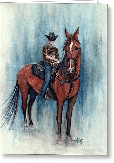 Young Cowboy On A Western Horse Greeting Card
