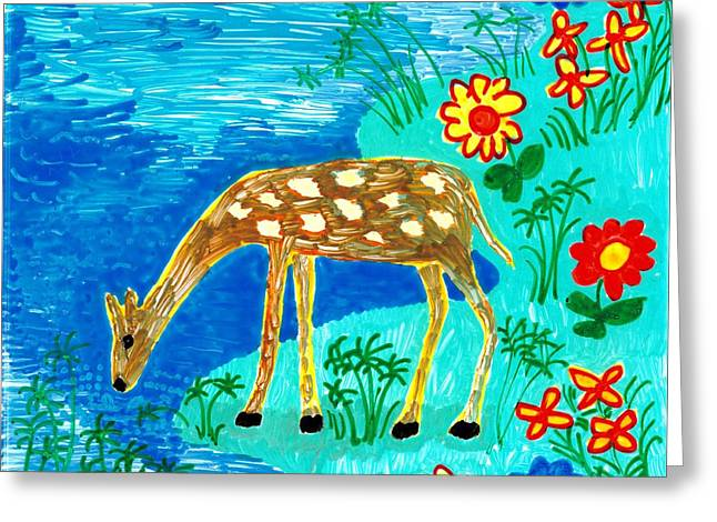 Young Deer Drinking Greeting Card by Sushila Burgess