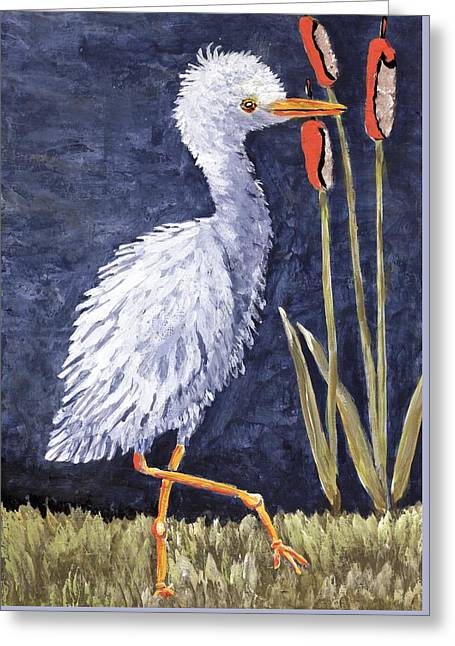 Young Egret Takes A Walk Greeting Card