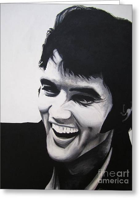 Greeting Card featuring the painting Young Elvis by Ashley Price