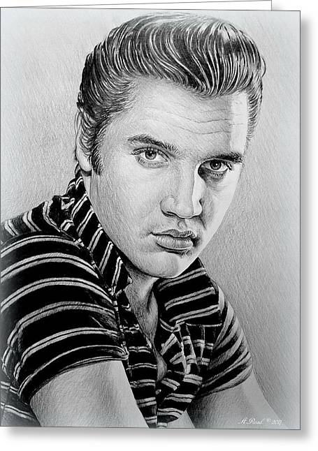 Young Elvis Bw Greeting Card
