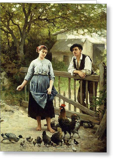 Young Farmers Greeting Card by Edouard Bernard Debat-Ponsan
