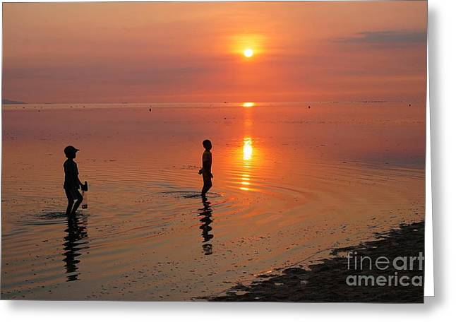 Young Fishermen At Sunset Greeting Card