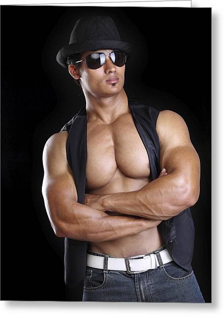 Young Fitness Man Greeting Card