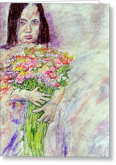 Young Flower Girl Greeting Card by Richard Wynne