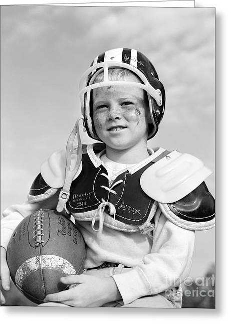 Young Football Player, C. 1960s Greeting Card by D. Corson/ClassicStock