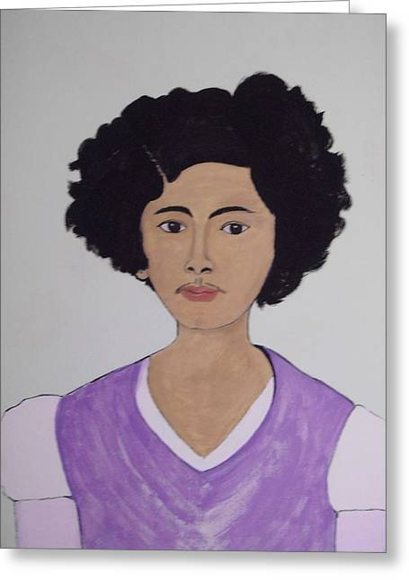 Greeting Card featuring the painting Young Frida by Stephanie Moore