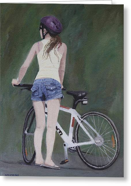 Young Girl And Bicycle Greeting Card