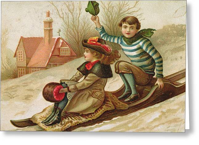 Young Girl And Boy Tobogganing, Victorian Christmas And New Year Card Greeting Card by English School
