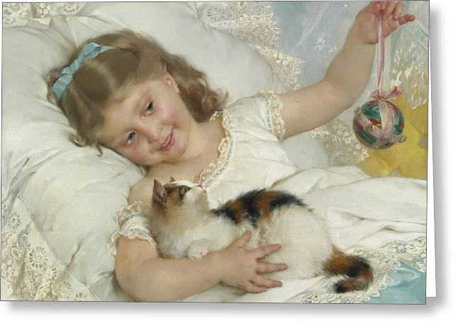Young Girl And Cat Greeting Card by Emile Munier