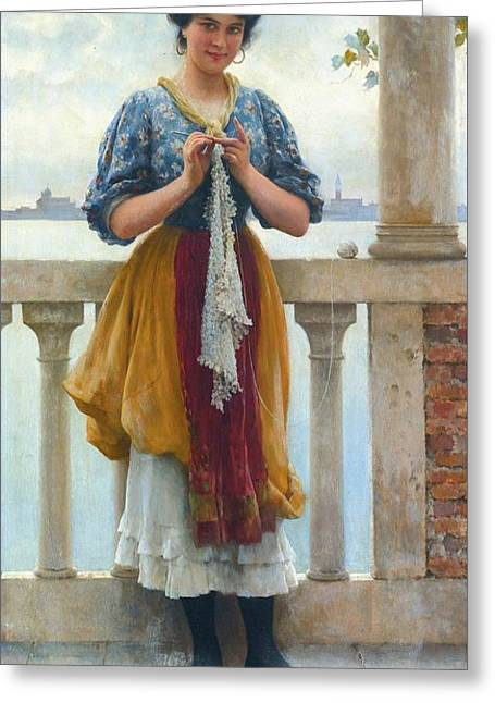 Young Girl Before The Lagoon Greeting Card