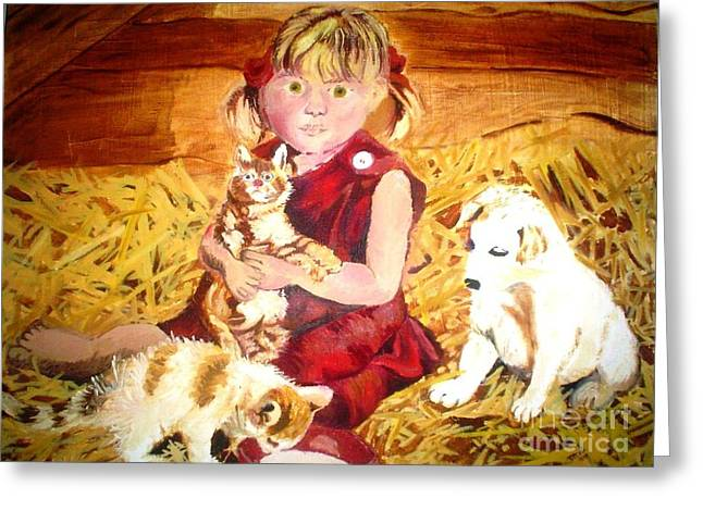 Young Girl In A Barn Greeting Card