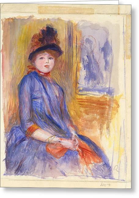 Young Girl In A Blue Dress Greeting Card
