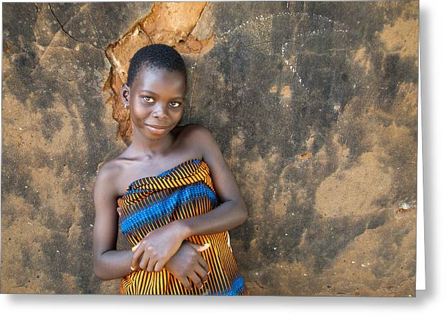 Young Girl In A Togo Village  Greeting Card