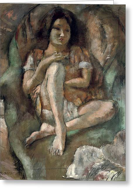Young Girl In An Armchair Greeting Card by Jules Pascin