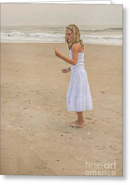 Young Girl On Beach Greeting Card by Randy Steele
