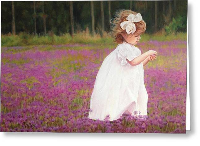 Young Girl Picking Flowers Greeting Card