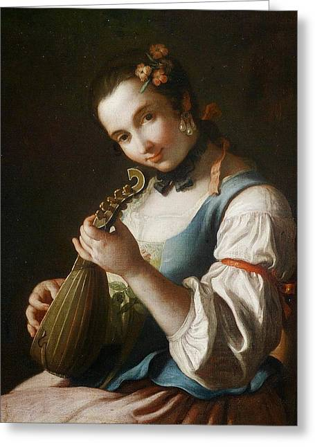 Young Girl Playing Musical Instrument Greeting Card