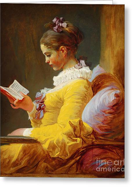 Young Girl Reading Greeting Card by Celestial Images