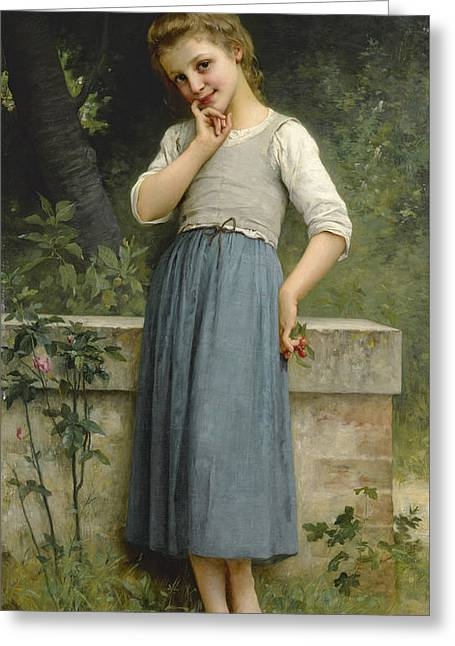 Young Girl With Cherries Greeting Card