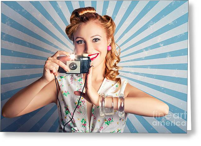 Young Happy Vintage Woman With Old Film Camera Greeting Card by Jorgo Photography - Wall Art Gallery