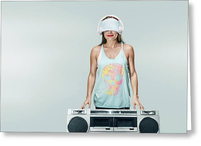 Young Happy Woman With Boombox Greeting Card by IPolyPhoto Art