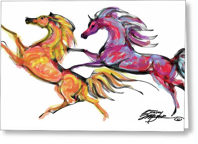 Young Horses Playing Greeting Card by Stacey Mayer