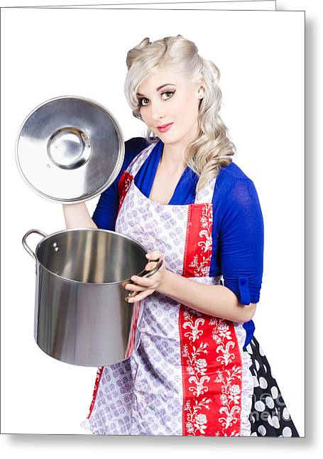 Young Housewife Lifting Lid On A Home Cooking Pot Greeting Card