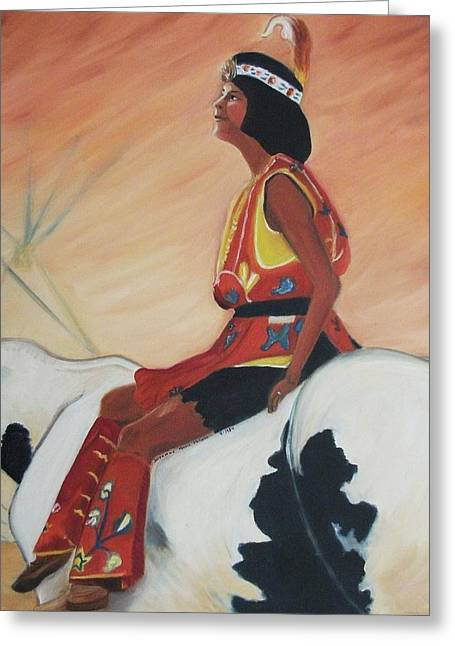 Young Indian Native Greeting Card by Suzanne  Marie Leclair