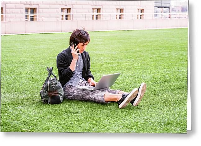 Young Japanese Man Traveling, Working In New York 15041418 Greeting Card