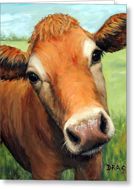 Young Jersey Cow In Field Greeting Card