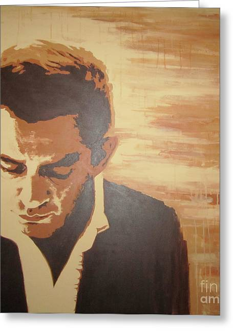 Greeting Card featuring the painting Young Johnny Cash by Ashley Price