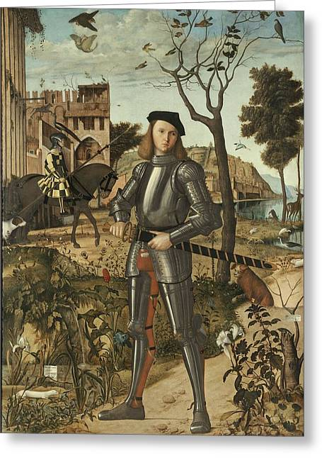 Young Knight In A Landscape 1510 By Vittore Carpaccio Greeting Card