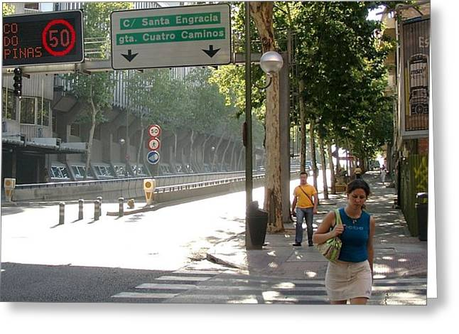 Young Lady And Gent On Rios Rosas Street - Madrid Greeting Card by Thomas Bussmann