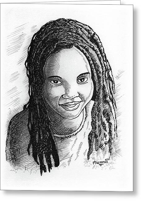 Young Lady Greeting Card by Anthony Mwangi