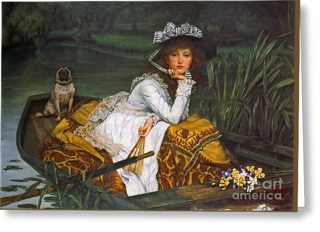 Young Lady Boating 1870 Greeting Card by Padre Art