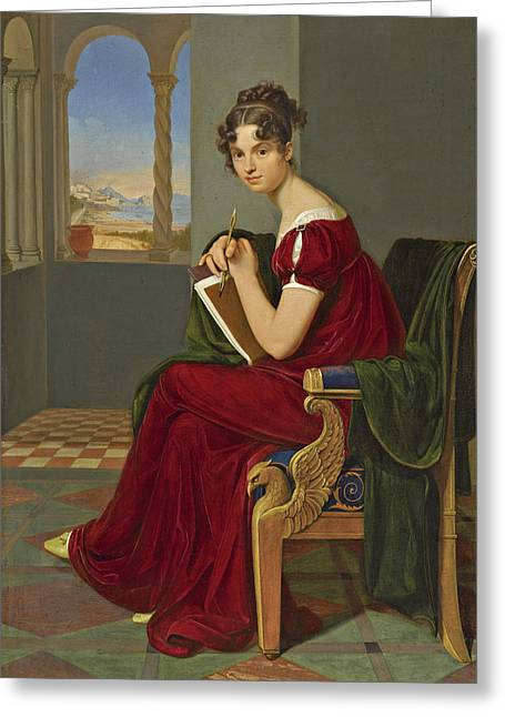 Young Lady With Drawing Utensils Greeting Card by Carl Christian Vogel von Vogelstein