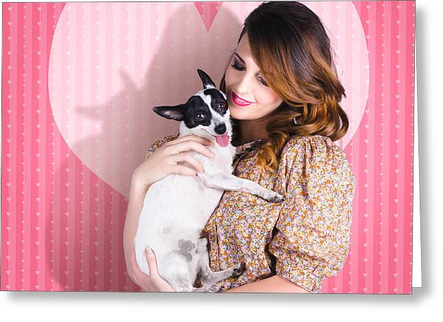 Young Loving Woman Holding Cute Small Pet Dog Greeting Card by Jorgo Photography - Wall Art Gallery