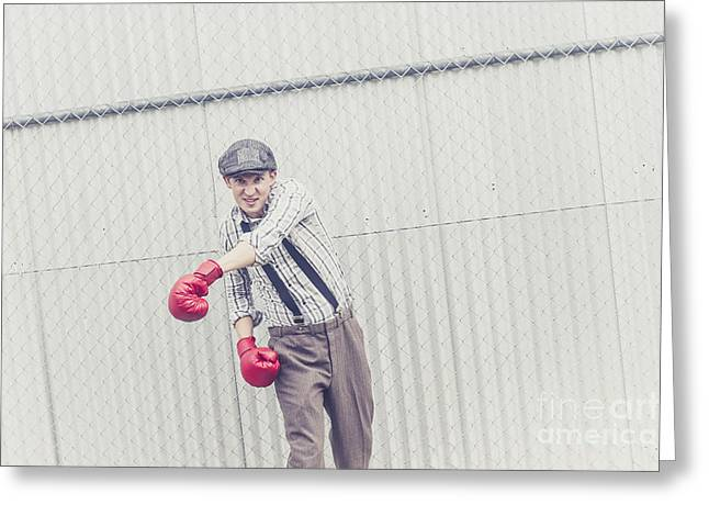 Young Male Boxer Throwing A Offensive Jab Greeting Card by Jorgo Photography - Wall Art Gallery