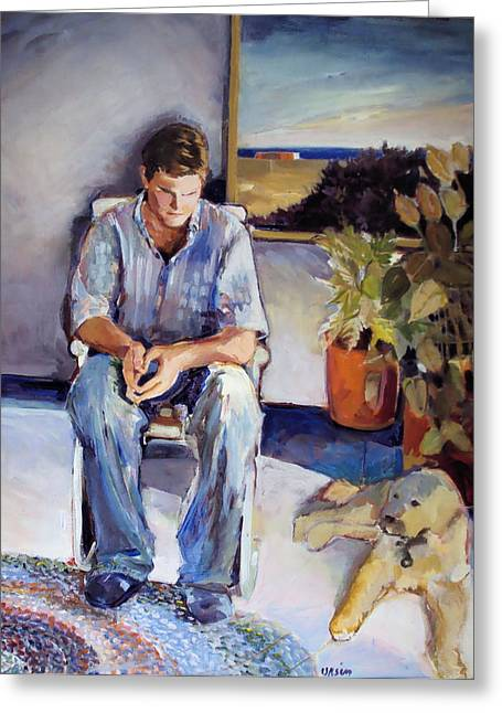 Young Man And His Dog Greeting Card